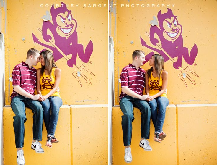 These two chose Sun Devil Stadium as the backdrop for their engagement photos.