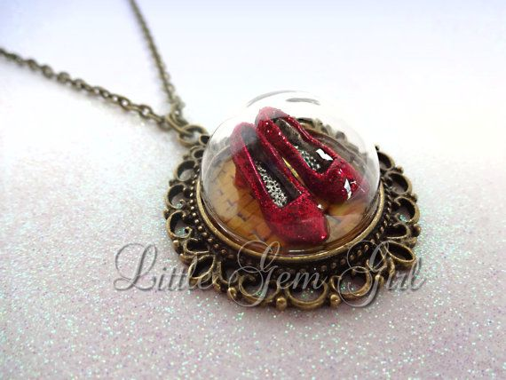 Wizard of Oz Necklace Ruby Red Slippers Necklace by LittleGemGirl
