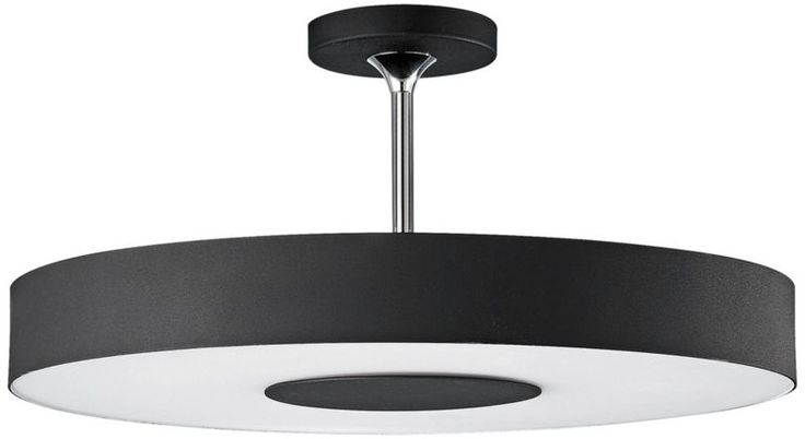 Discus Black 17 1/2-Inch-W Etched Glass Ceiling Light -