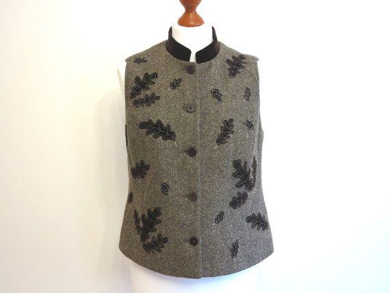 Herringbone Ladies Vest Brown Autumn Leeves Applique by ArtasStore, $30.00
