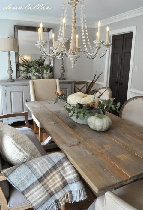 Mixing rustic elements with glamorous touches throughout her dining room is one of her specialties.