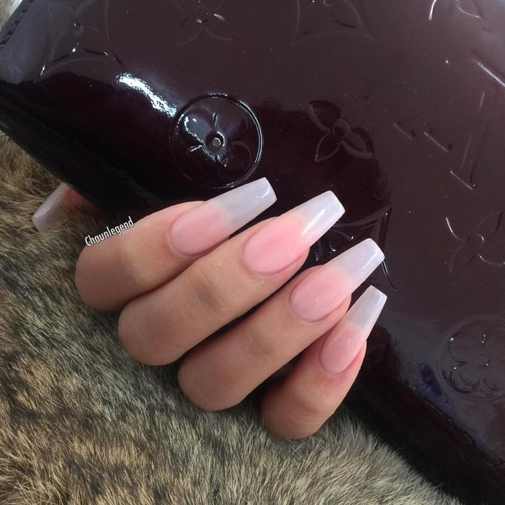 Sheer Nude tapered square tip long nails #nail #nailart love these for when my nails grow out more