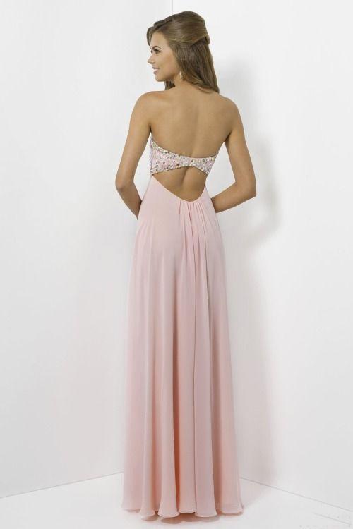 Paprika bandeau chiffon prom dress with lace trim