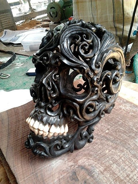 Wooden tribal skull hand carved free shipping a long
