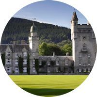 Balmoral Castle is a large estate house in Royal Deeside, Aberdeenshire, Scotland - The Scottish holiday home to the Royal Family
