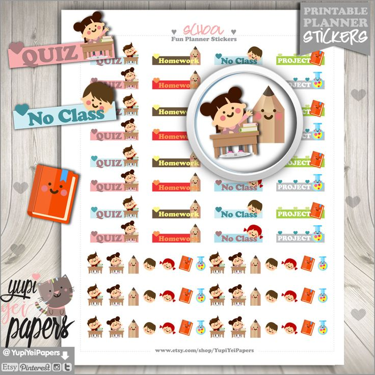 50%OFF - School Stickers, Printable Planner Stickers, Printable Stickers, College Stickers, Student Stickers, Kawaii Stickers, Stickers