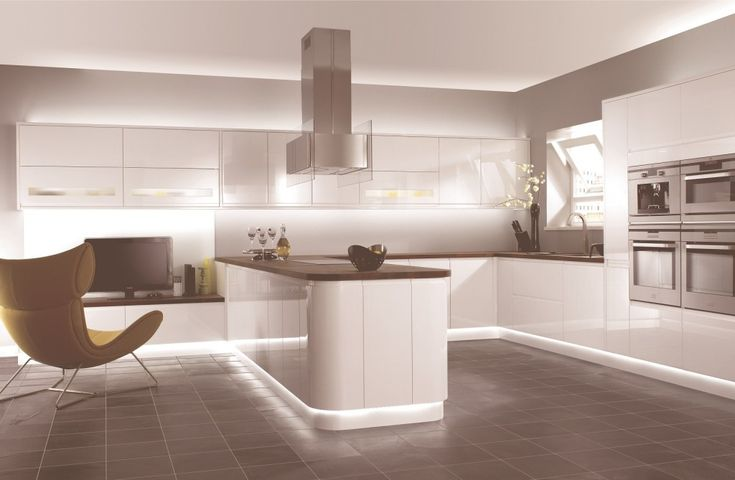 Exclusive Design Home Kitchen Comfortable And Creative Ideas Efficient Minimalist Kitchen Cabinet Design Ideas In White Scheme With Strips Led Light