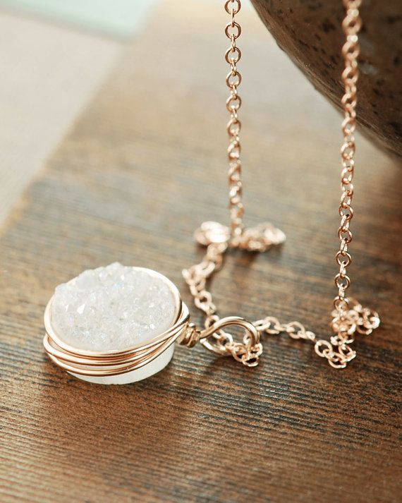 White Druzy Rose Gold Necklace Druzy Jewelry 14k Rose by aubepine