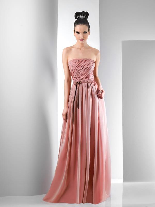 Marszczona długa suknia bez ramiączek. Suknie Noviamor. BB1007