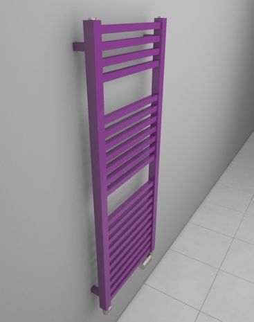 Bathroom ladder radiator. Bespoke radiator - dimensions and colours. Bathroom radiator with angular profiles. Suitable for various heating types (central heating radiator, electric radiator, dual fuel radiator). Delivery: 4 weeks http://www.hothotexclusive.com/en/eshop/radiators-in-signal-violet-colour-ral-4008/ruby-bath-extra-hrbe/?proportion_type=1&proportion=878&color=54&heating=1
