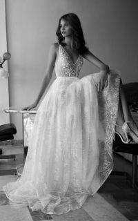свадебное платье в стиле бохо Flora Bridal, открытая спина