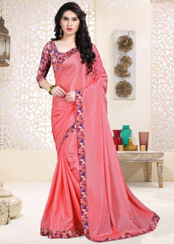 Pink chinon chiffon printed saree