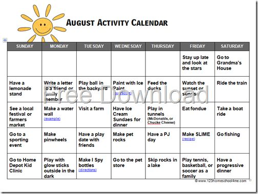 August Activity Calendar for Kids PLAY Activities for Kids Kids