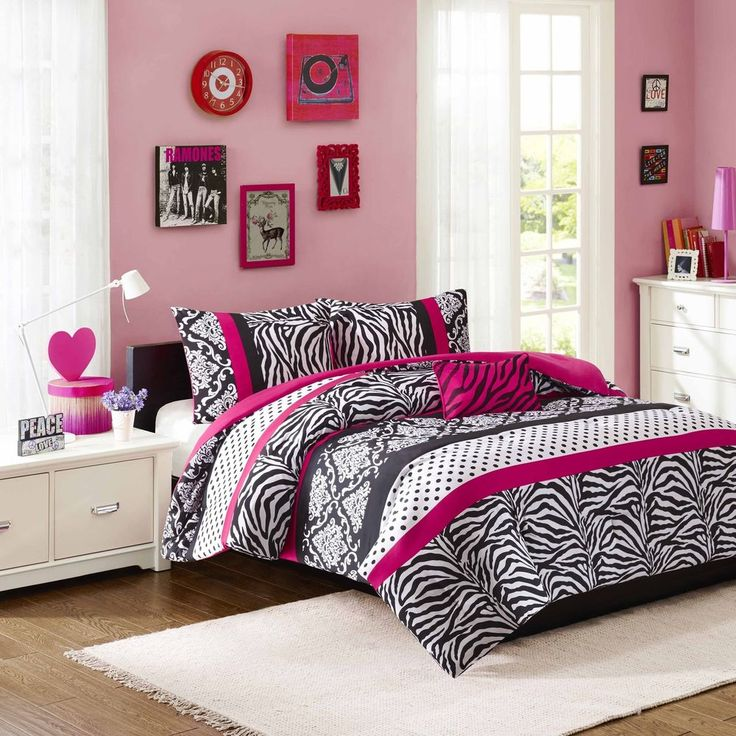Comforter Set for Teen Girls Full Size Bedding Zebra Print Bedroom Dorm Room  Bed