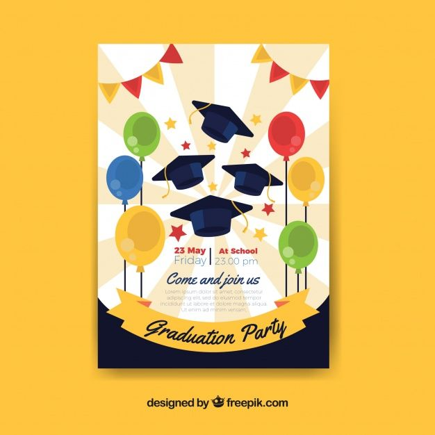 Download Great Party Poster With Graduation Caps And Balloons For