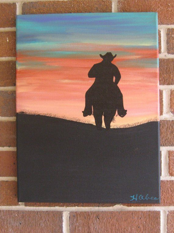 Western Decor Cowboy Painting Horse Painting Sunset Painting Western Art Custom Cowboy Southw Canvas Art Painting Western Art Paintings Western Painting Canvas