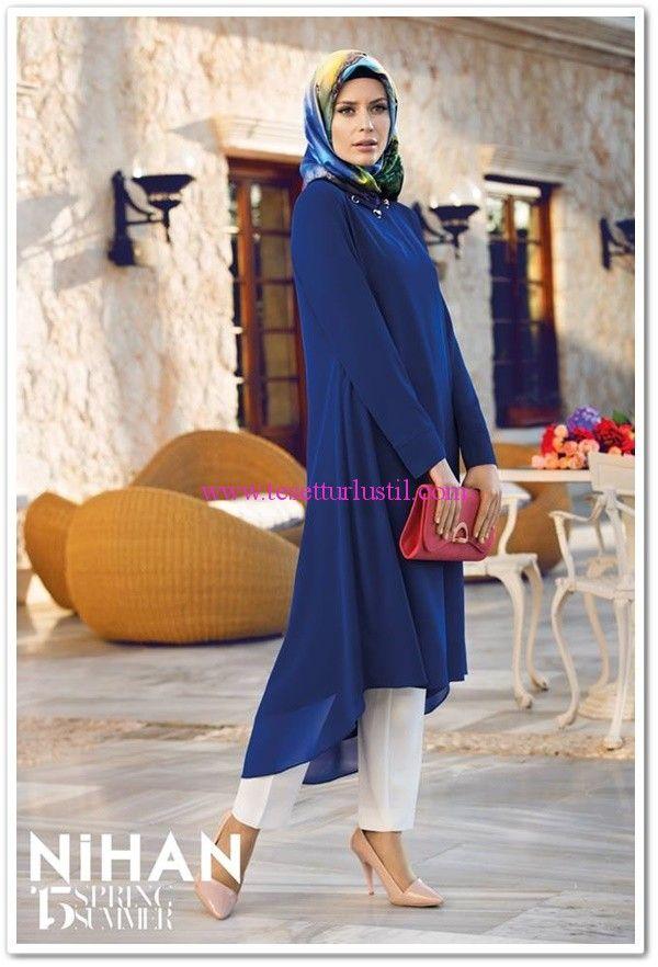 Nihan Giyim 2015 saks mavisi tesettür tunik