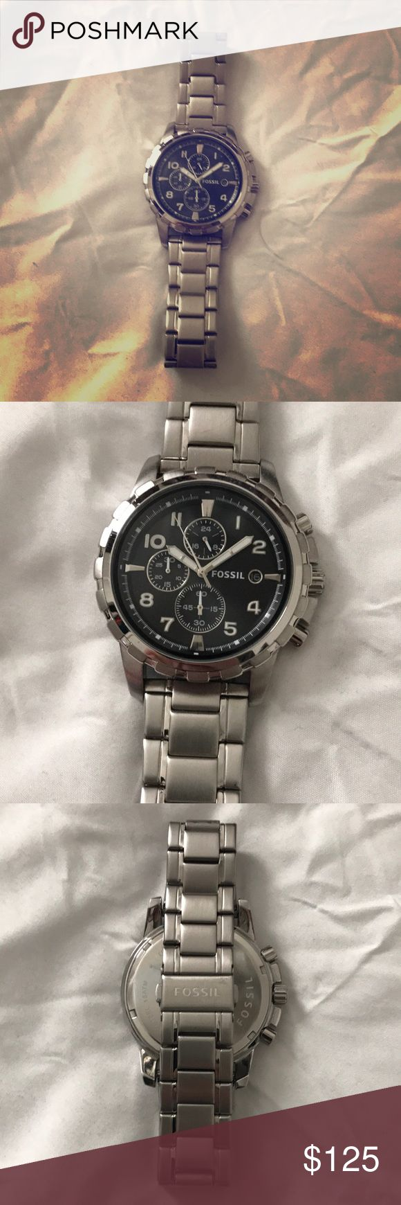 Men's fossil chronograph watch Men's fossil dean stainless steel and black face chronograph watch fall 4542 861207 in very good  worn condition Fossil Accessories Watches