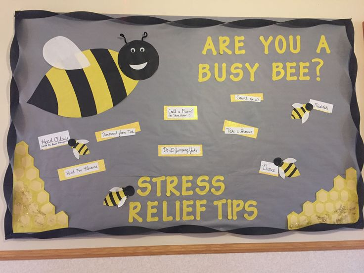 Are you a busy bee? Stress relief tips for college students. Residence life March bulletin board