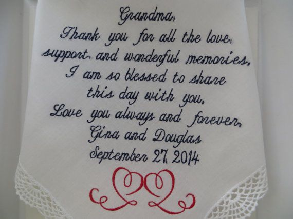 Gracious Grandmother Wedding Handkerchief. Thoughtful Gift on such a memorable occasion. Includes Charming Gift Envelope., $25.00