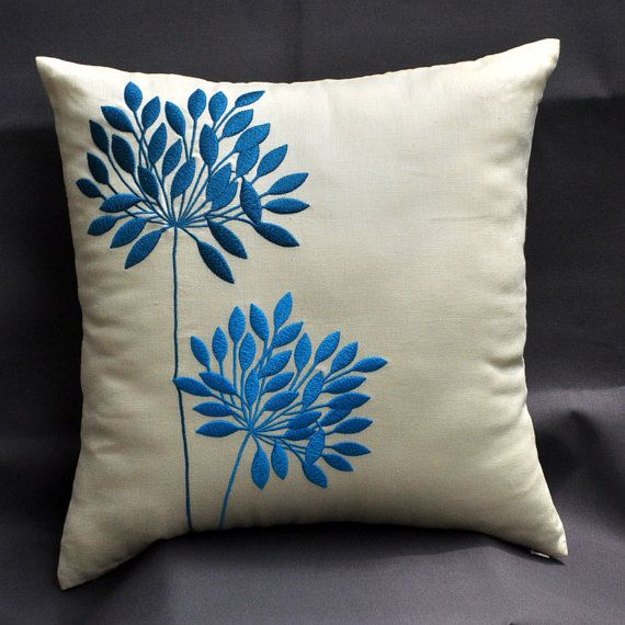 Yellow Pillow Cover Decorative Throw Pillow Cover 18x18 Teal Etsy Cushion Embroidery Simple Embroidery Designs Flower Throw Pillows