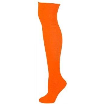 Amazon.com: AJs Solid Colored Knee Socks - Neon Orange-M: Clothing