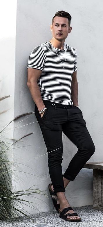 e2353034bb24  wowa valentino - Simple summer outfit inspiration with a white black striped  t-shirt black denim wrist accessories black sandals  summerstyle ...