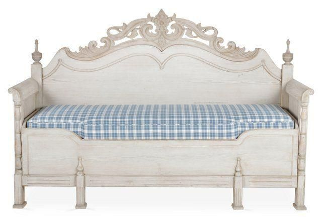 Hand-Carved Swedish Daybed -- Swedish hand-carved birch daybed, circa 1900. Blue-and-white plaid cushion included.