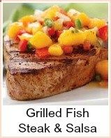 This lovely grilled fish with salsa recipe uses tuna steaks and a salsa like Rubios fish tacos - you could use salmon, swordfish, shark, halibut, turbot or any other steaks - also fillets of any type of fish. All you need to do is adjust the grilling times - I like to make the salsa early and leave it in the fridge - the flavors infuse nicely and I just love the coldness on the hot fish.