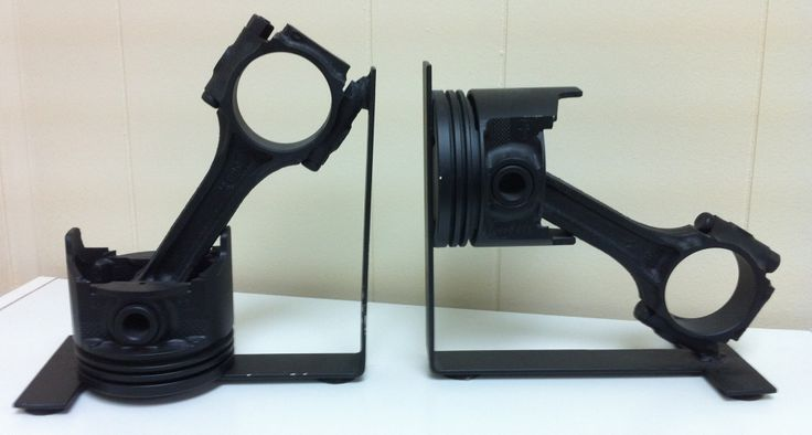 Bookends made with engine pistons.
