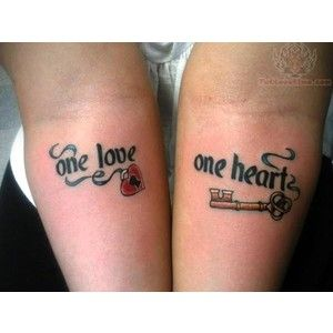 One Love One Heart Lock Key Tattoo for Couples Tattoomagz.com Tattoo Designs Ink-Works Gallery