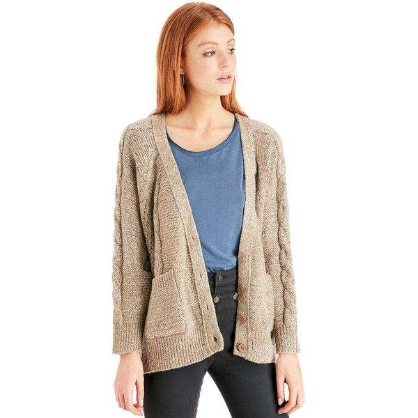 Sole Society Cable Knit Cardigan ($70) ❤ liked on Polyvore featuring tops, cardigans, camel, chunky cable knit cardigan, chunky cable cardigan, sole society, slouchy tops and cardigan top