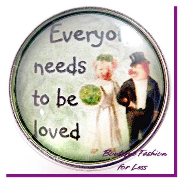 Snaps Chunk Charm Glass Everyone Needs to be Loved Interchangeable #PrivateLabel #StyleSnapsChunkSnapPopDesignerInspi