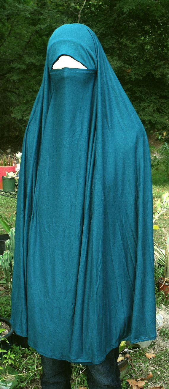 Pak Chador Khimar with attached niqab dark turquoise by hijabi, $24.00
