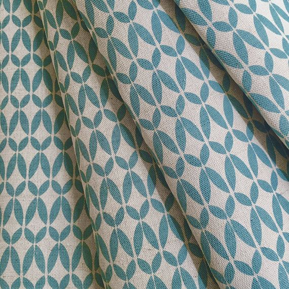 Scandinavian Curtains- Blue Curtains- Teal Curtains- Linen Curtains- Made To Measure Curtains- Geometric Curtains- Custom Curtains- Bespoke