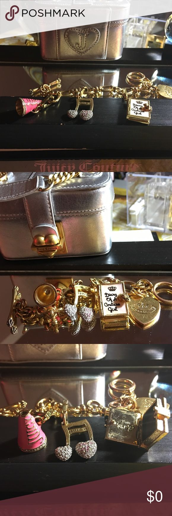 "Juicy Couture Bracelet: Megaphone, JC Diary, Note Juicy Couture Starter Bracelet w/ 3 charms. Small Gold Megaphone {all stones intact, v slight discoloration on inside- not noticeable}, Diary of a JC Girl {8 out of 10}, Music Note {missing 4/5 stones}. LOOK AT ALL PICTURES-they are part of the description-I bundle, offer 5% off multiple items, & i ship quick. OPEN TO OFFERS & Negotiations (I am willing to discuss FAIR offers!!) they will ONLY CONSIDERED through using the ""OFFER"" BUTTON…"