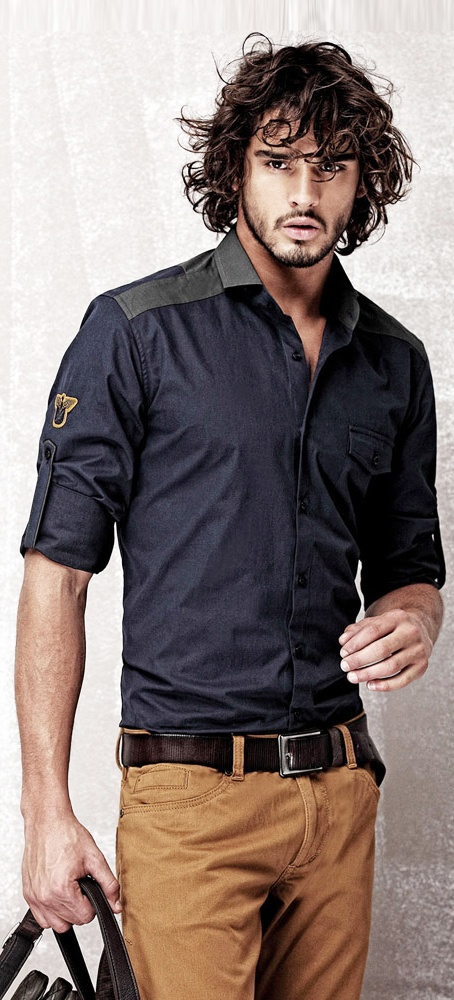 Great slim fit shirt for great long well shaped body. Oh yeah...would look great on him!