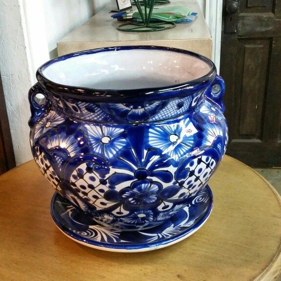 Traditional Blue And White Talavera Pottery