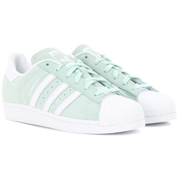 Adidas Originals Superstar Suede Sneakers (€84) ❤ liked on Polyvore featuring shoes, sneakers, zapatos, green, adidas originals shoes, adidas originals sneakers, green suede shoes, suede sneakers and adidas originals trainers