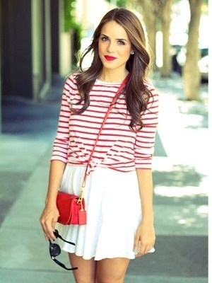 red and white striped shirt + white skirt
