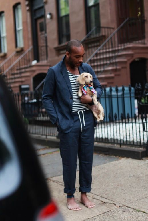 Justin Chung Photography marcus puppy street style mens stripe tee tshirt summer suit navy