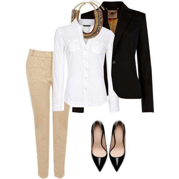 Work outfit - black blazer, beige trousers, white button-up shirt, black pumps, statement necklace. Professional