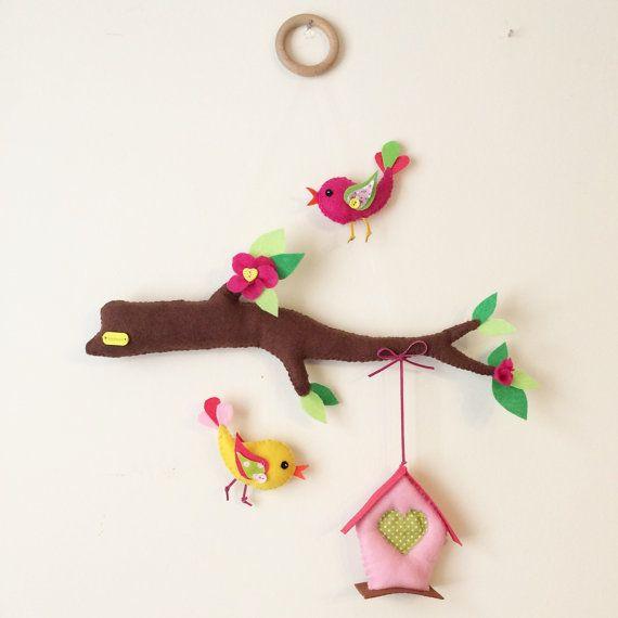Birdhouse baby crib mobile by WishUponAFelt on Etsy