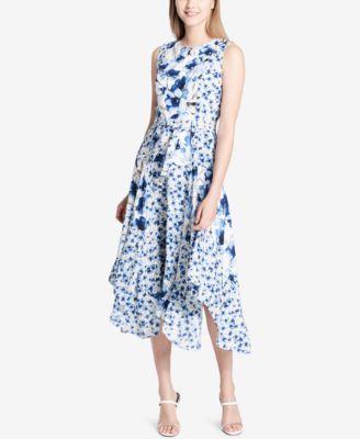 Calvin Klein Handkerchief Hem Midi Dress Macys Com Summer