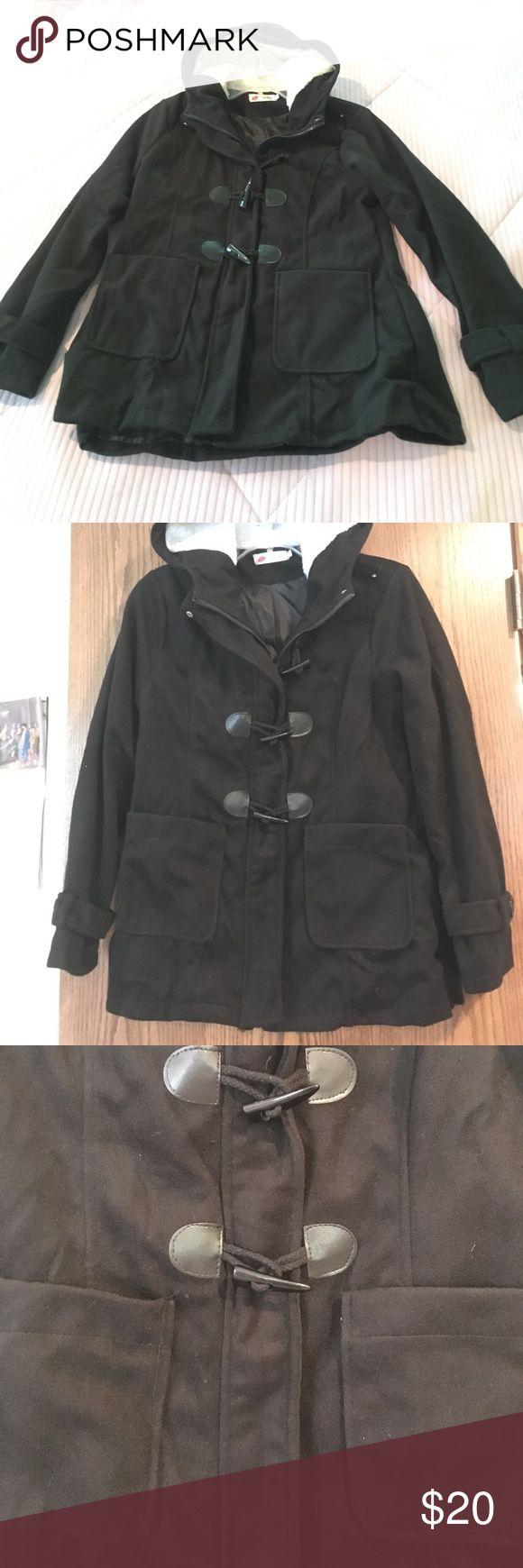 Pocketed wool pea coat Never worn black long pocketed winter pea coat Jackets & Coats Pea Coats
