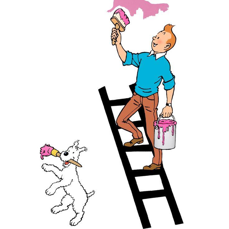 1970 ❘ Tintin peintre en couleurs — Tintin painter in colors  ☼ Dessin publié dans le « Journal Tintin » du 22 décembre 1970.