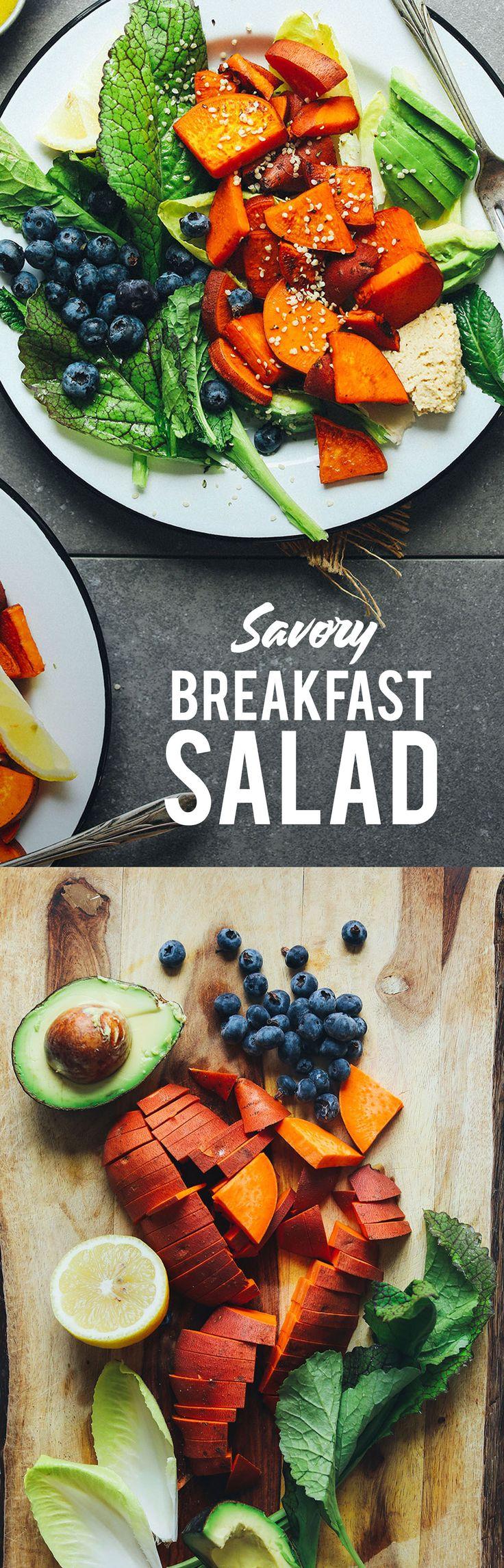 AMAZING Vegan Breakfast Salad! Lemony greens, sweet potatoes, blueberries, hummus, and hemp seeds! #vegan #plantbased #glutenfree #breakfast #recipe #minimalistbaker