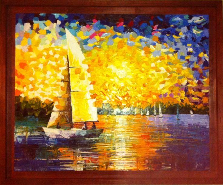 Velero al atardecer | Sailboat at sunset Artista: Analía González Nieto Óleo sobre tela