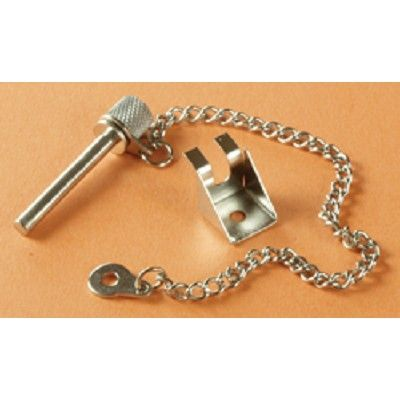 "Refrigerator Lock Pin. Fits in hole to lock your refrigerator door and keep it closed while driving. Pin is 1-1/2""L. Includes chain and screw. Your Price: $3.78"