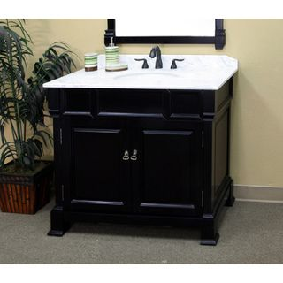 @Overstock.com - Bellaterra Home Espresso Finish 42-inch Vanity - Add a stylish touch to your bathroom with this 42-inch vanity set from Bellaterra Home. An espresso finish and white marble counters highlight this vanity. Does not come with backsplash or faucet. $1,199.99  http://www.overstock.com/Home-Garden/Bellaterra-Home-Espresso-Finish-42-inch-Vanity/7009324/product.html?CID=214117 $1,199.99